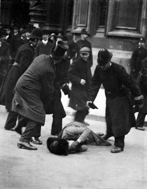 COPY1-551-Believed-to-be-suffragette-Mrs-Ernestine-Mills-and-Dr-Herbert-Mills-in-top-hat-Black-Friday-demonstration-18-November-1910-1-564x720
